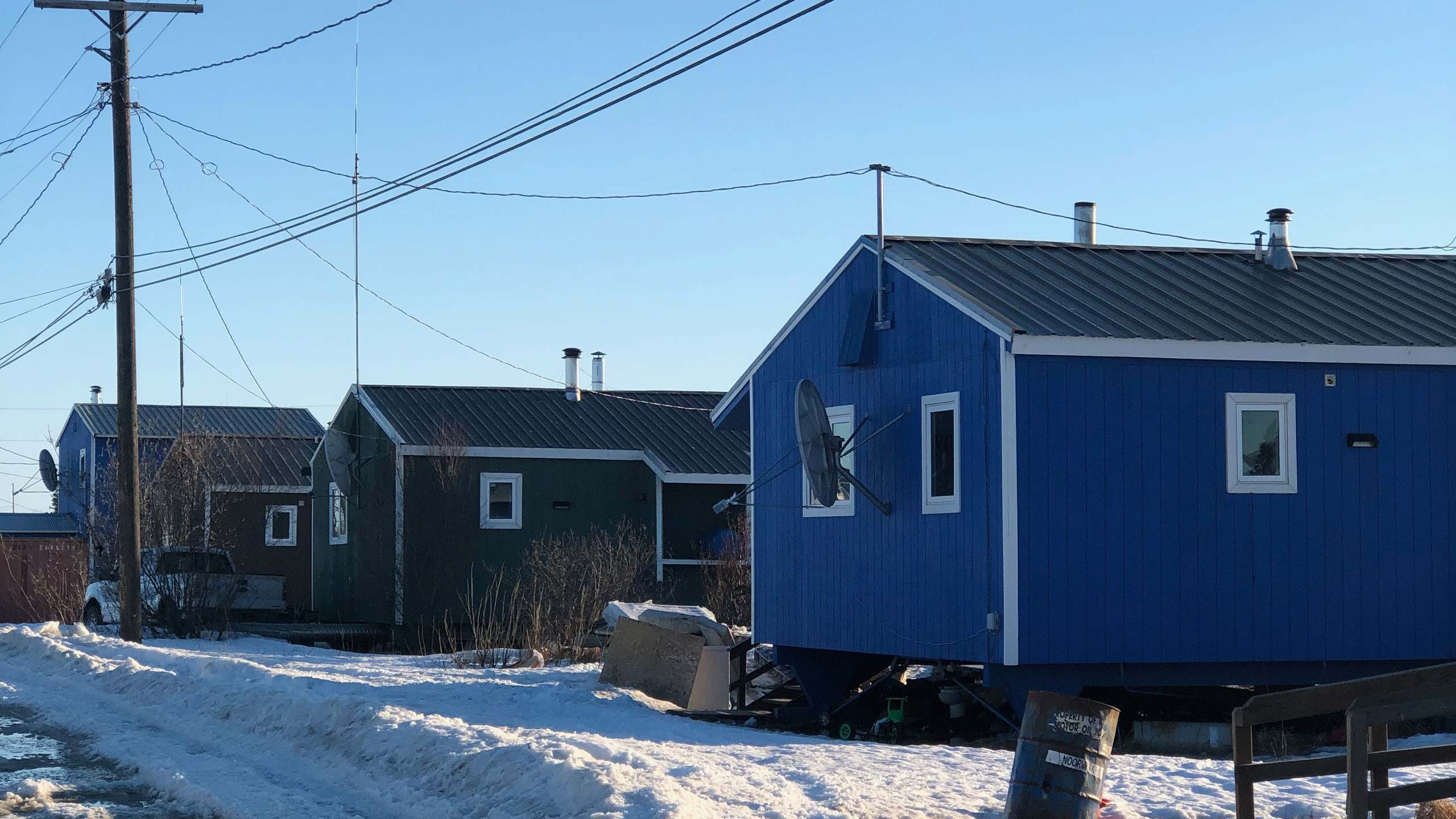 The houses were up on stilts because of the permafrost