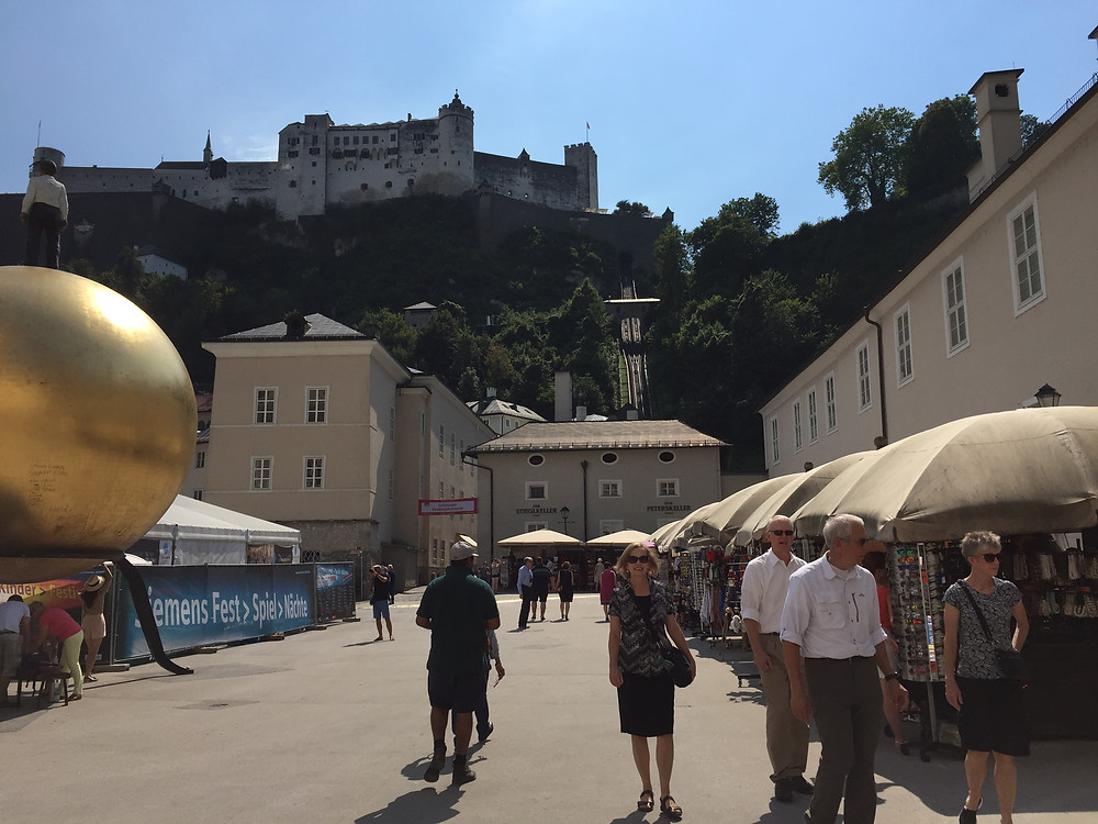 View of the castle in Salzburg from the city