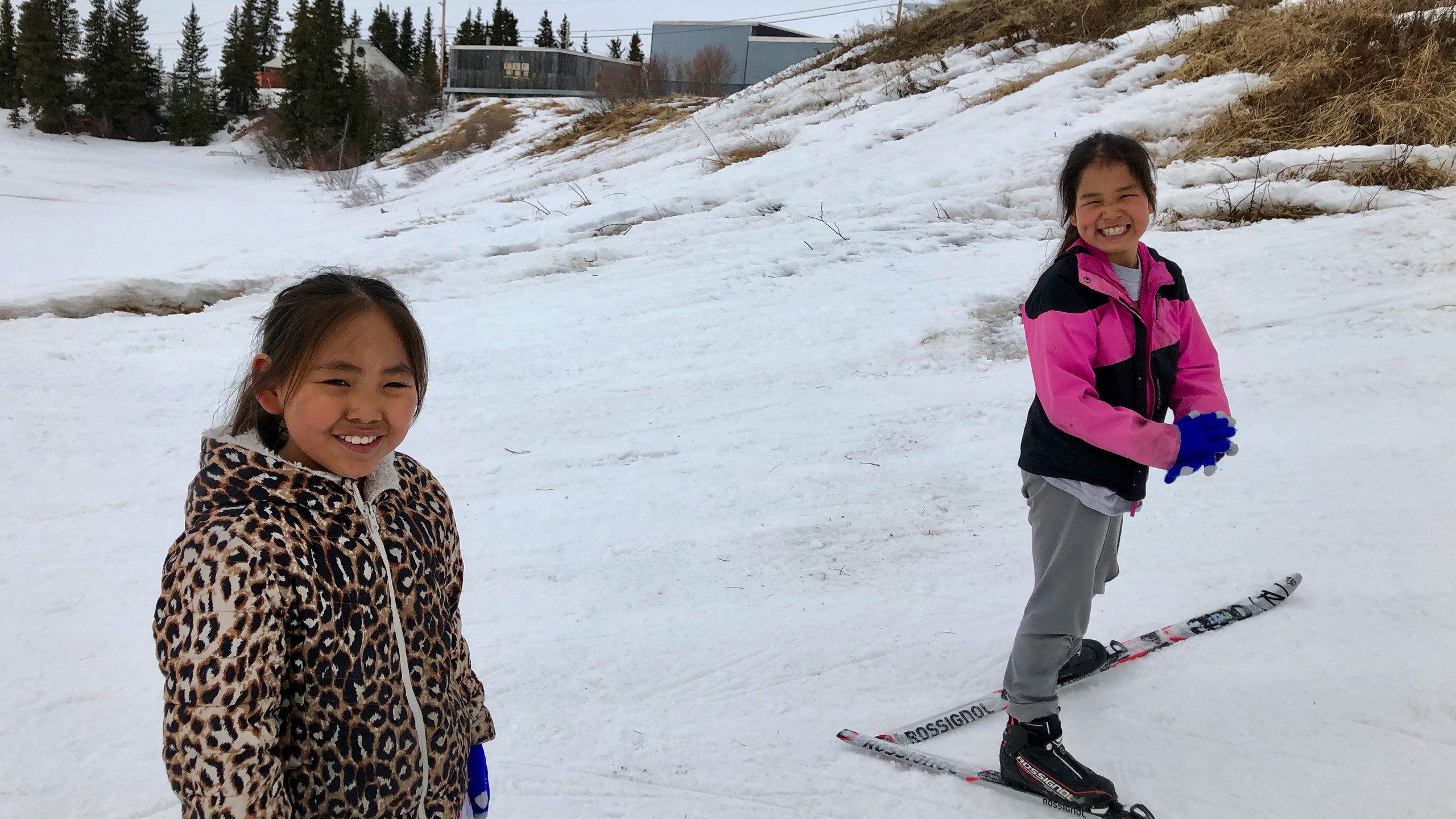 Paula and Dianna skiing after school
