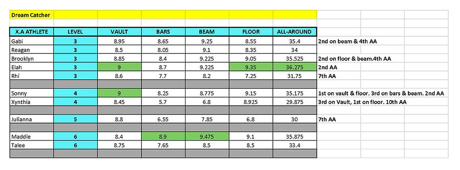2019-2020 XTREME TEAM SCORES - Dream Cat