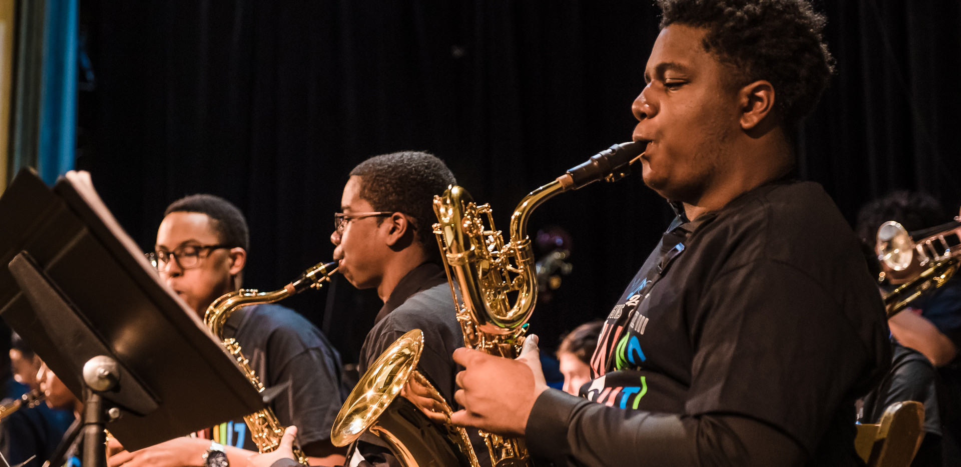 Taijee Shavers later performed on the baritone saxophone during the Jazz Big Band performance.