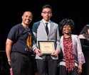 2018 YMCO Graduate, Jonathan Bocanegra, accepting his award