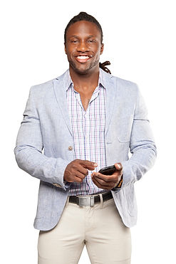 Image of casually dressed African American man with phone in hand, symbolizing someone seeking help for men's issues
