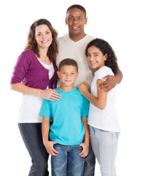 Image of a mixed race family symbolizing happy results from counseling with Abigail Blackburn, PsyD