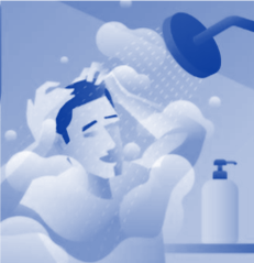 Cartoon image of a man washing hair in the shower