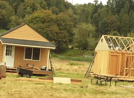 Image of temporary housing cabins at H3-HopeHorsesNHeroes, Monroe WA