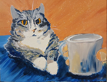 Colorful drawing of Martha's cat with a cup of tea