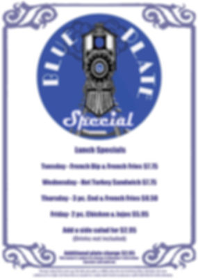 Iron Horse Lunch Specials blue plate