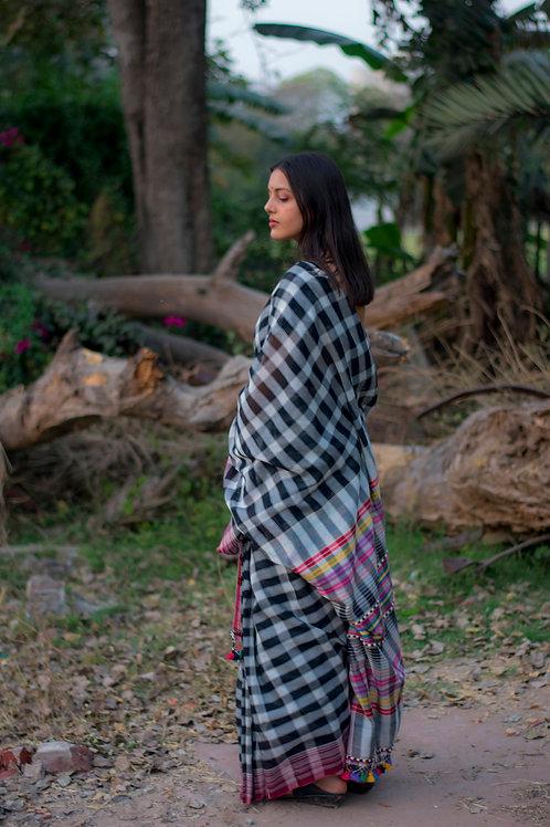 Black & white checks handloom saree