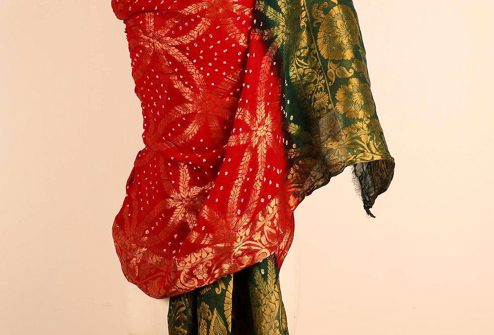 Green Red Banarasi Art Dupatta