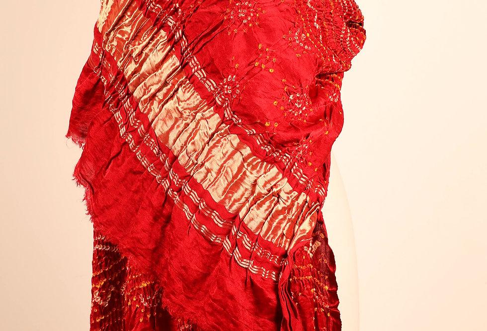 Red Gazzi Silk Bandhani