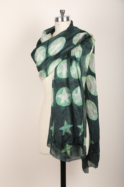 Green clamp dyed dupatta