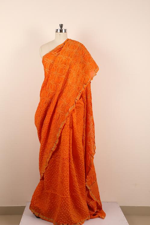 Orange chanderi cotton saree