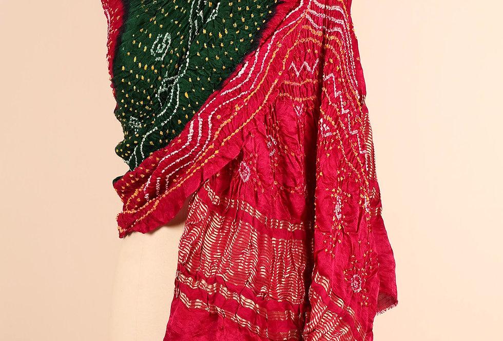 Gulabi Gazzi Silk Bandhani