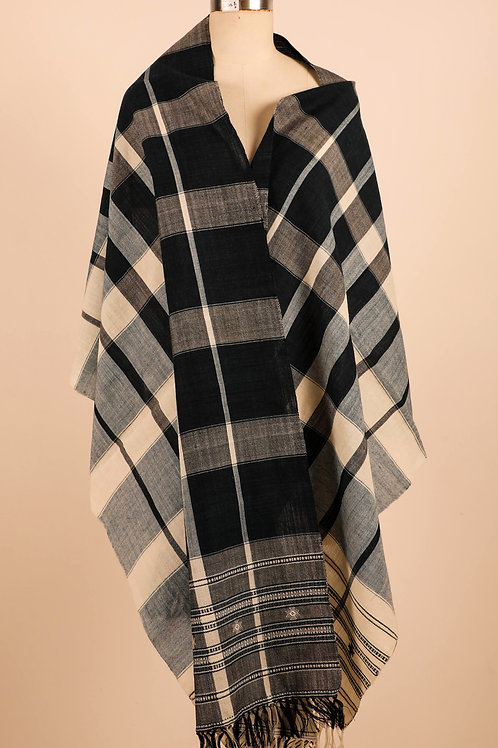 Ink Green Blue Checkered Stole