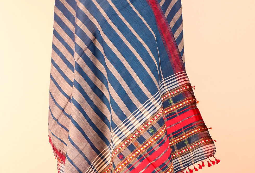 Striped Blue Grey Stole