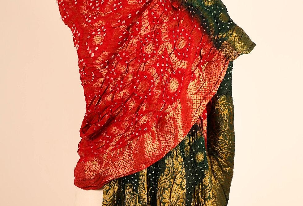 Red Green Art Dupatta