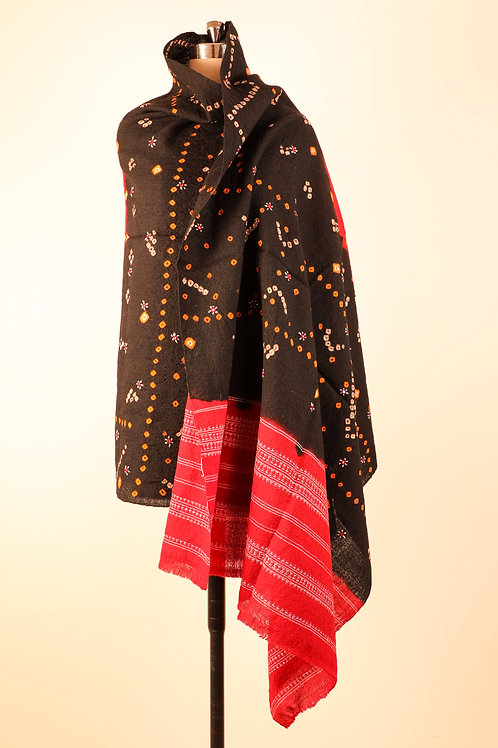 Tie Dye red and Black Shawl