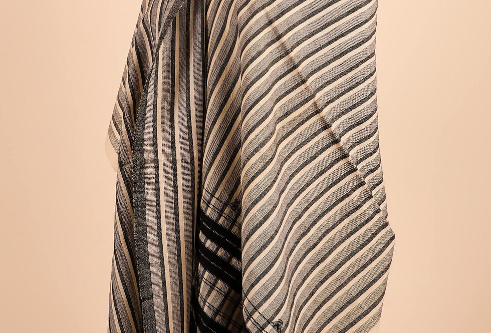 Grey and White Striped Stole