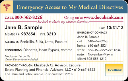 My Medical Directives Emergency Access Card