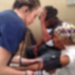 Trip participant, Becca, taking patients