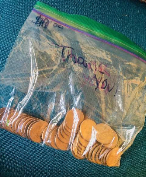 A bag of coins to be used for good