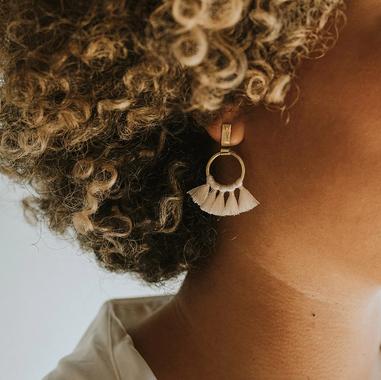 White Tassel Earrings Brass