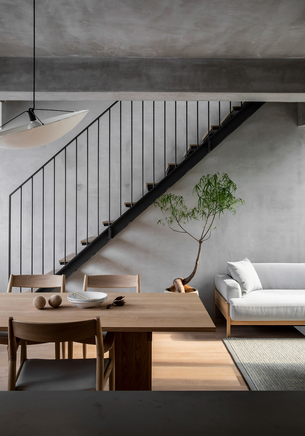 Kinuta Terrace in Tokyo features assorted Kvadrat upholstery and curtain textiles, as well as Kvadrat rugs. Located in a quiet residential area, the renovated premises comprises 36 maisonettes and a verdant courtyard with a 100m garden passage.  Harmonious materiality and connection with nature characterise the concept for Kinuta Terrace, which incorporates interior design, landscaping and custom-made furniture. This nuanced approach makes for clean yet relaxed and warm living spaces.