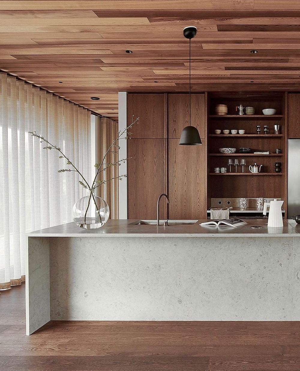 kitchen sustainable design interior designer marble timber