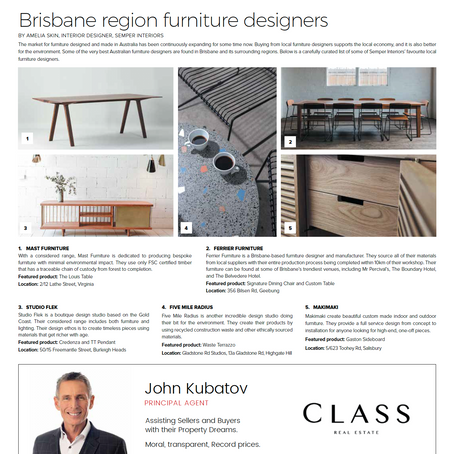 Real Estate News and Views Article // Brisbane region furniture designers