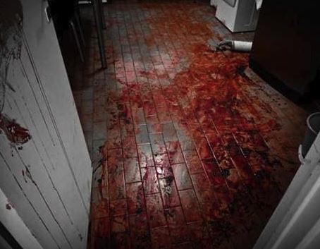 "This was not the scene of a farm murder. A reverse image search shows it to be an art piece. Richard Powell's ""blood performance - kitchen floor - Buenos Aires 2010"""