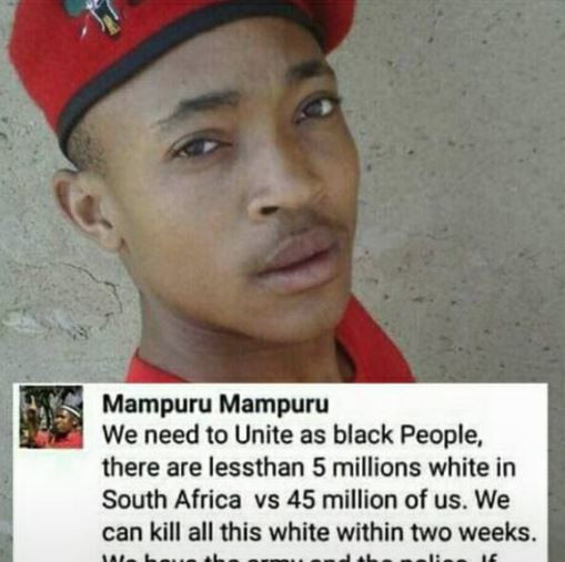 This is completely false. Check out the article where he personally responds: https://www.timeslive.co.za/politics/2018-03-21-eff-councillor-loves-his-white-friends-and-would-never-call-for-their-genocide/