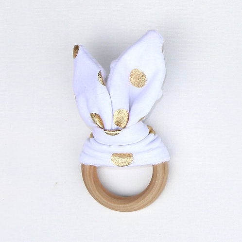 Teether - White and Gold