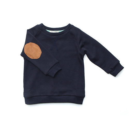 Elbow patch crew - Navy/Brown