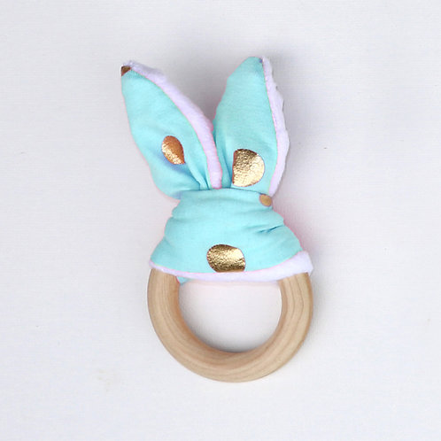 Teether - Light Blue and Gold