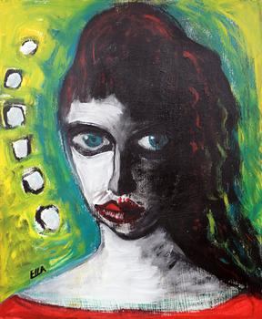 Green Eyes - Painting by Ella Blame