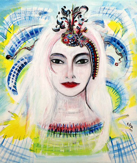 Woman With White Hair And Headdress
