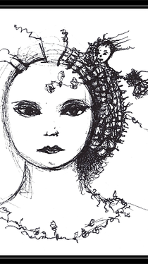 Woman With Roots and Troll - Drawing by Ella Blame