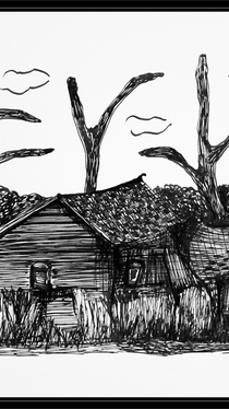 Abandoned - ink drawing by Ella Blame