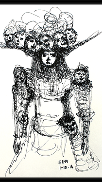 Woman With Hat - Drawing by Ella Blame