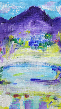Purple Mountains with Lake - Painting by Ella Blame