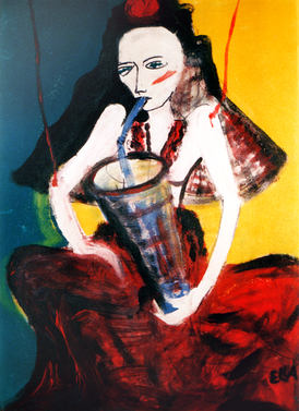 Drinking Puppet - Painting by Ella Blame