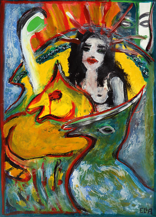 Die Tierkönigin Wird Beobachtet - Painting by Ella Blame