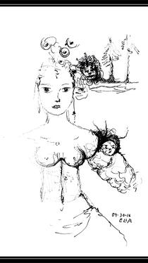 Woman and Trolls - Drawing by Ella Blame