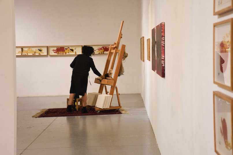 the artist with the installation