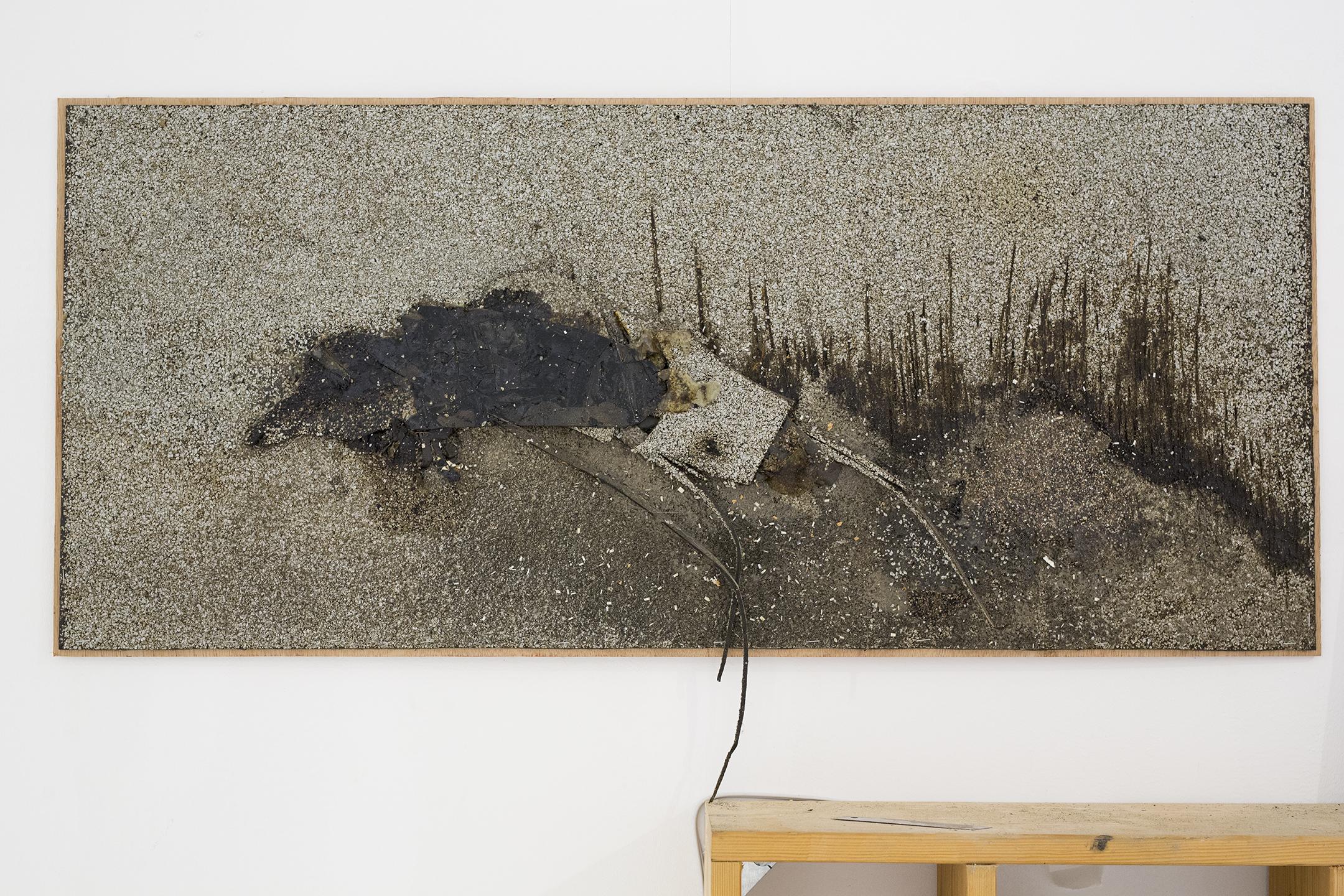 יצור נס (2016), קולאז על יריעה ביטומנית.