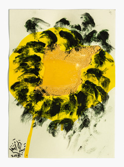 Sunflower 1,  2018, Oil, Acrylic and SuperLac on Cotton Paper, 35.5X25 cm. (A series of 9 works)