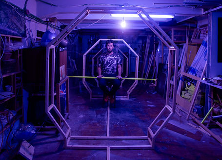 Artist Shay-Lee Uziel in his studio