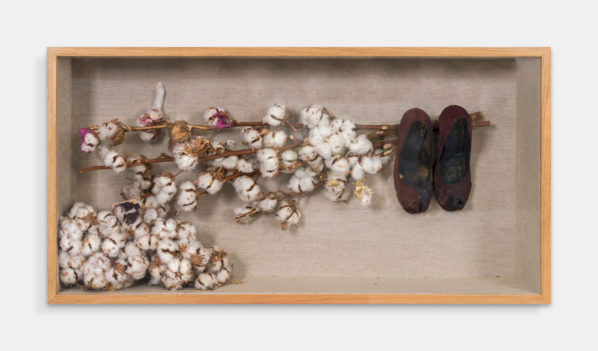 True Love (I am), 2015, Heels, Cotton Branches and Bolls, Gold and Pink Acrylic, Tar and Spray paint,