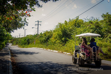 Golf carts are the preferred mode of transportation on Isla Mujeres.